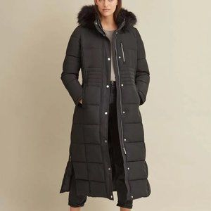NWT DKNY maxi long black quilted puffer coat, XL